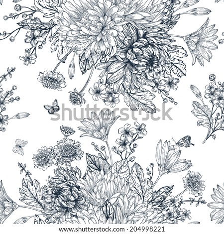 Elegant seamless pattern with bouquets of flowers on a white background. Garden asters, chrysanthemums, daisies. Vector monochrome illustration. Black and white background.