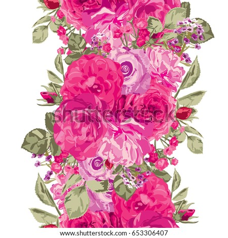 Elegant seamless pattern with decorative rose flowers in watercolor style, design element. Floral pattern for wedding invitations, cards, scrapbooking, print, gift wrap, manufacturing. Editable. #653306407