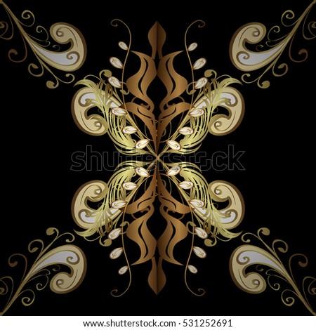 Elegant seamless pattern with floral and Mandala elements. Nice hand-drawn illustration. Black background. Golden elements.