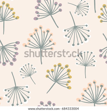 Elegant seamless pattern with flower branch in pastel colors. Scandinavian style vector background. Great for fabric,textile,wallpaper