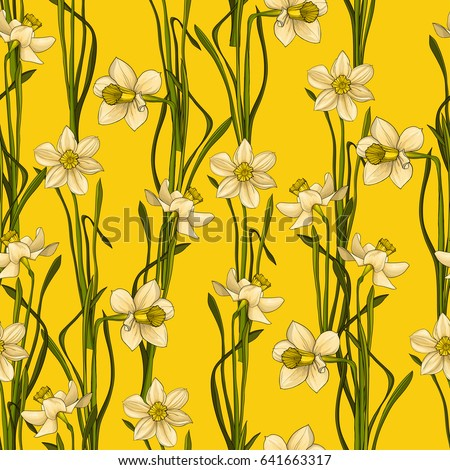Elegant Seamless pattern with flowers narcissus in watercolor style, vector floral illustration in vintage style. Yellow background