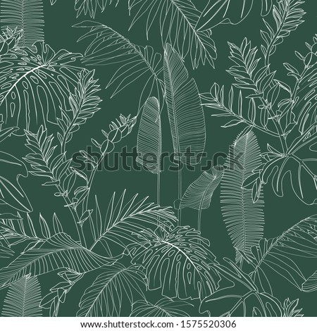 Elegant seamless pattern with green hand drawn line tropical leaves and flowers. Floral pattern. Vintage green background.