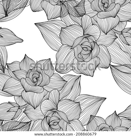 Elegant seamless pattern with hand drawn decorative gardenia flowers, design elements. Floral pattern for wedding invitations, greeting cards, scrapbooking, print, gift wrap, manufacturing.