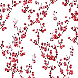 Elegant seamless pattern with hand drawn decorative holly berries, design elements. Can be used for winter holiday invitations, greeting cards, print, gift wrap, manufacturing. Watercolor style
