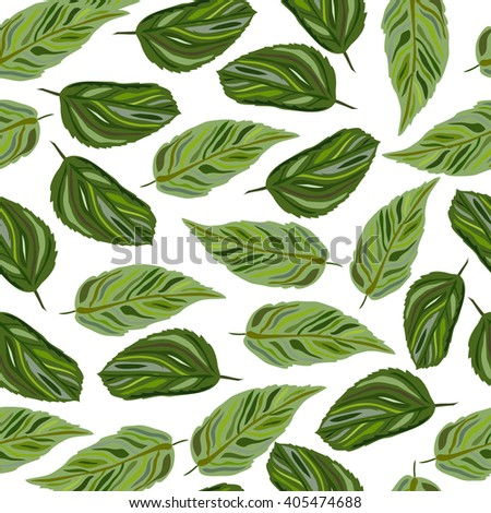 Elegant seamless pattern with hand drawn decorative leaves, design elements #405474688