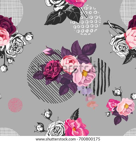 Elegant seamless pattern with semi-colored wild rose flowers against gray background with hand painted circular elements of different texture. Vector illustration for fabric print, wrapping paper.