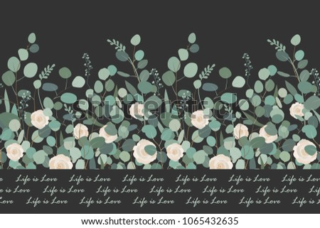 Elegant seamless pattern with silver dollar eucalyptus branches and roses on black background. Vector