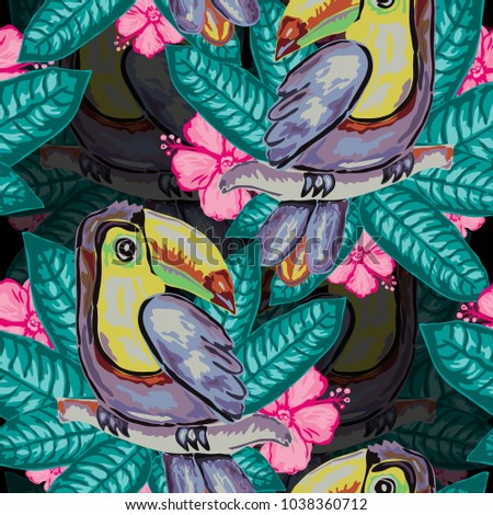 Elegant seamless pattern with toucan birds and hibiscus, design elements. Floral tropical pattern for invitations, cards, print, gift wrap, manufacturing, textile, fabric, wallpapers