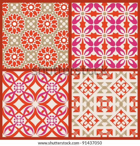 Elegant seamless patterns. This beautiful patterns can be used for wallpaper, pattern fills, web page background, surface textures.