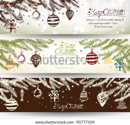 Elegant Shiny Christmas Banner Set