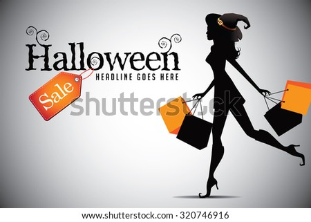 Elegant shopping woman Halloween sale advertising background template. EPS 10 vector illustration.