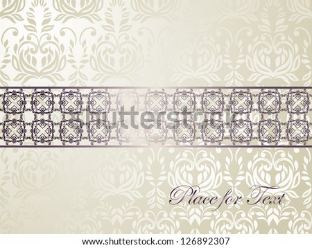Elegant  silk silver card, floral background seamless, Wedding invitation