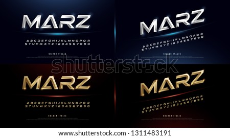 Elegant Silver And Gold 3D Metal Chrome Alphabet And Number Italic Font. Typography gold color technology, digital, movie logo fonts design. vector illustration