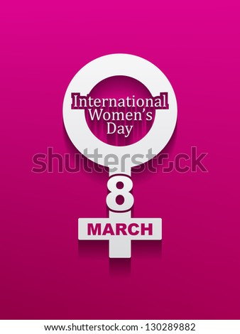 Elegant silver color design element for women's day on pink color background with shadow. vector illustration