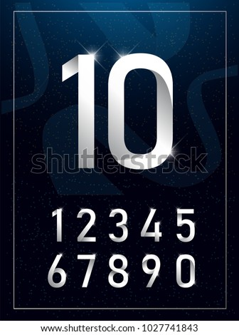 Elegant silver metal numbers. 1, 2, 3, 4, 5, 6, 7, 8, 9, 10. Silver number alphabet typeface glowing text effect. vector illustration