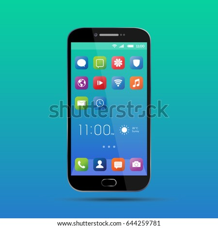 Elegant smartphone with colorful screen icons, applications. Mobile phone isolated, realistic vector design on green, blue background
