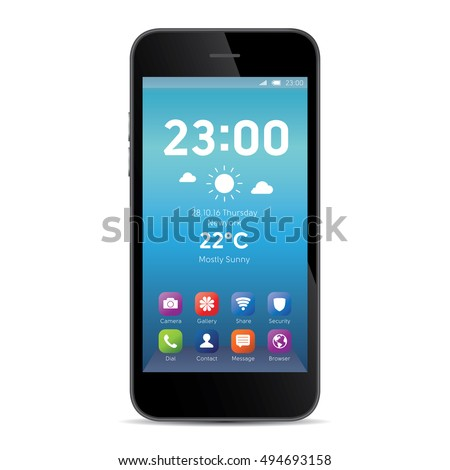 Elegant smartphone with colorful screen icons, applications. White mobile iphon isolated, realistic vector illustration.