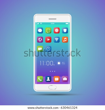 Elegant smartphone with colorful screen icons, applications. White mobile phone isolated, realistic vector design on blue background