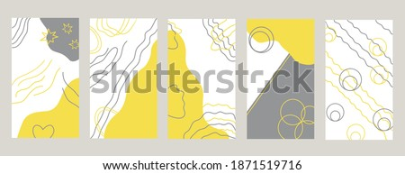 Elegant social media templates set in trendy colors illuminating Yellow and Ultimate Gray backgrounds with design elements, abstract ornament Foto stock ©