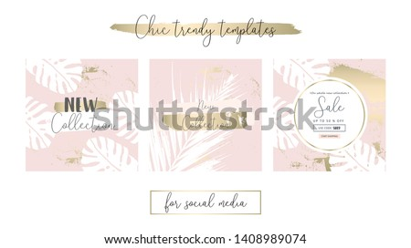 Elegant Social Media Trendy Chic Gold Rose banner Templates