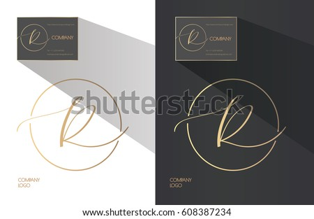 Elegant Sophisticated Logo Design Hand Written Calligraphy Letter R In A Circle