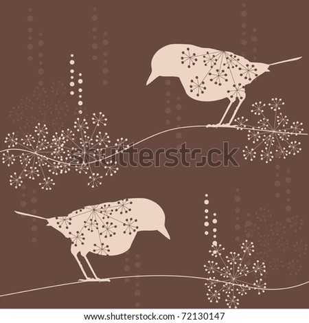 Elegant  spring floral vector background with birds