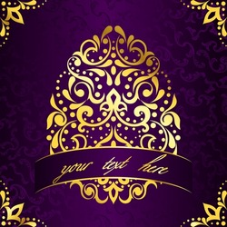 Elegant square Easter frame in purple and gold (EPS10); jpg version also available