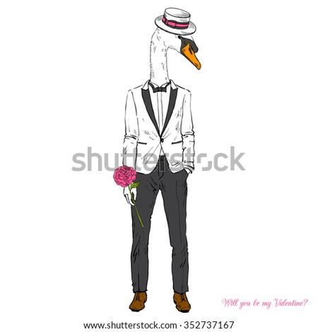 elegant swan boy dressed up in