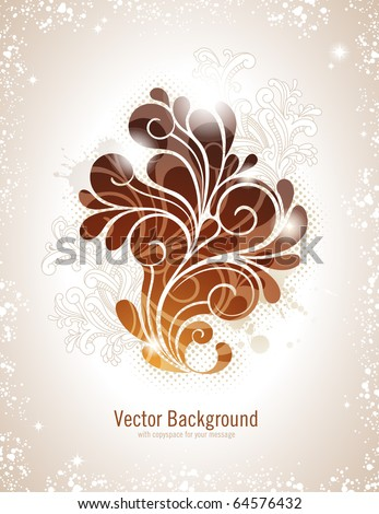 elegant swirly vector background in warm colors