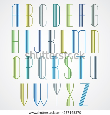 Elegant Tall Striped retro style artistic font, beautiful geometric patterned narrow lined letters typeface. Uppercase letters set. Vector. Stok fotoğraf ©