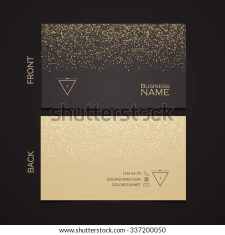 Elegant Template Luxury Business Card with Gold Dust & Place for Text. Particles Background. Vector illustration