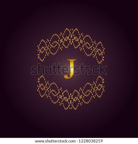 Elegant template of an elegant golden monogram. Design of the J logo for royalty, business cards, boutique, hotel, heraldry, web design. Vector illustration