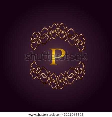 Elegant template of an elegant golden monogram. Design of the P logo for royalty, business cards, boutique, hotel, heraldry, web design. Vector illustration