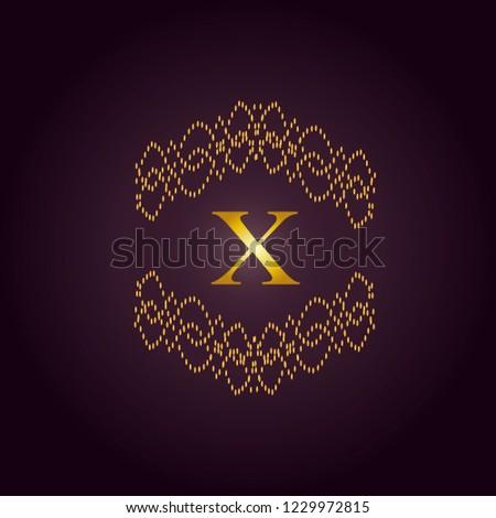 Elegant template of an elegant golden monogram. Design of the X logo for royalty, business cards, boutique, hotel, heraldry, web design. Vector illustration