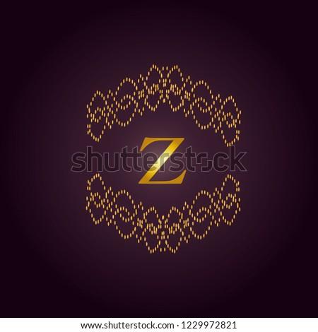 Elegant template of an elegant golden monogram. Design of the Z logo for royalty, business cards, boutique, hotel, heraldry, web design. Vector illustration