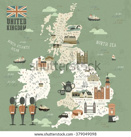 elegant United Kingdom attractions travel map in flat style