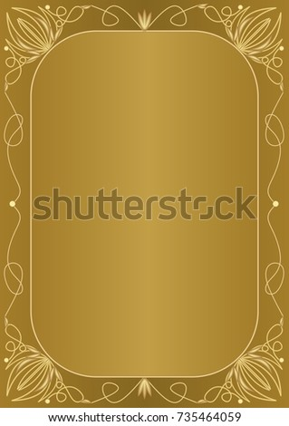 Elegant unusual golden background with golden embossed frame in art deco style. Elegant unusual document design for certificate, diploma, voucher, flyer, leaflet. Vector EPS 10