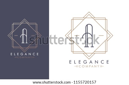Elegant vector A logo in two color variations. Art Deco style logotype design for luxury company branding. Premium identity design in blue and gold.