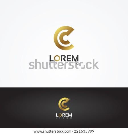 Elegant vector graphic gold alphabet symbol / letter C