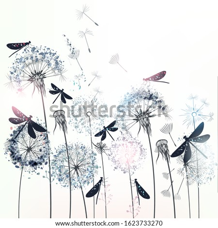 Elegant vector illustration with dandelions and dragonflies Foto stock ©