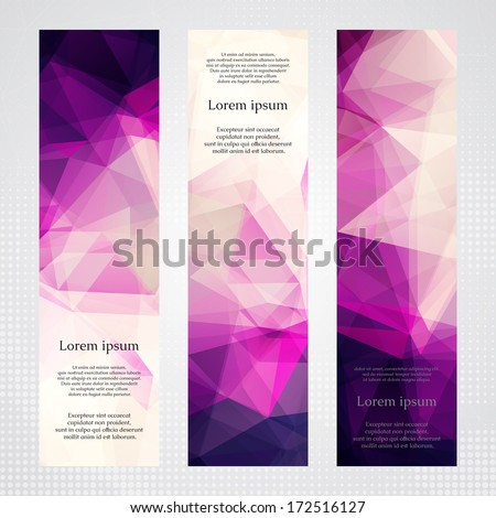 Elegant vertical banners with light and dark pink transparent polygonal shapes. - Shutterstock ID 172516127