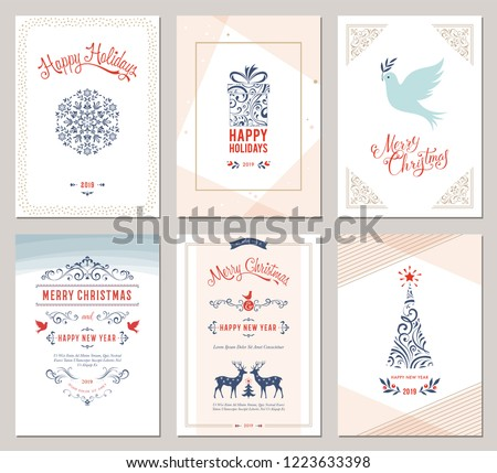 Elegant vertical winter holidays greeting cards with New Year tree, dove, reindeers, gift box, snowflake, Christmas ornaments and ornate typographic design. Vector illustration. #1223633398