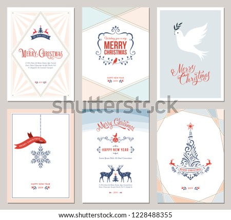 Elegant vertical winter holidays greeting cards with New Year tree, dove, reindeers, snowflake, Christmas ornaments and ornate typographic design. Vector illustration. #1228488355