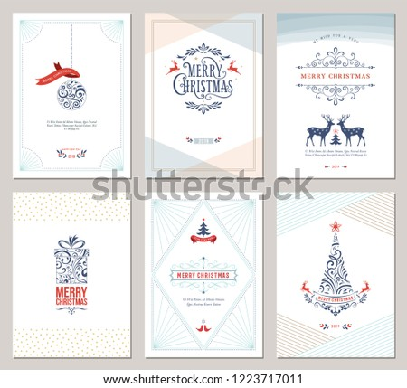 Elegant vertical winter holidays greeting cards with New Year tree, reindeers, gift box, Christmas ornaments and ornate typographic design. Vector illustration. #1223717011