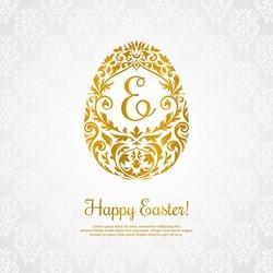 Elegant vignette easter egg design. Royal easter egg vector illustration. Rich happy easter retro poster.