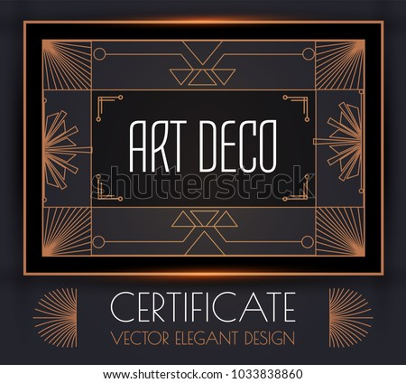 white gold art deco wedding invitation template vector download