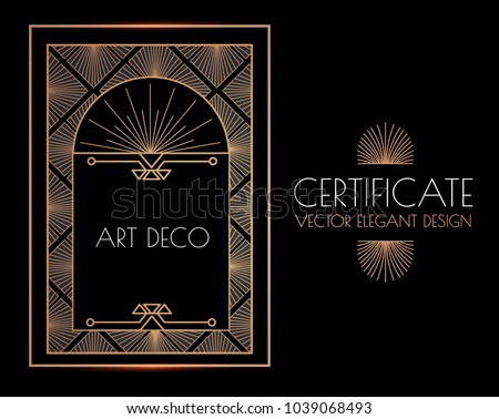 Elegant Vintage Card, Flyer, Sertificare and Invitation Template in Art Deco Style. Black, White and Gold Luxury Design. Vip Voucher. Vector illustration