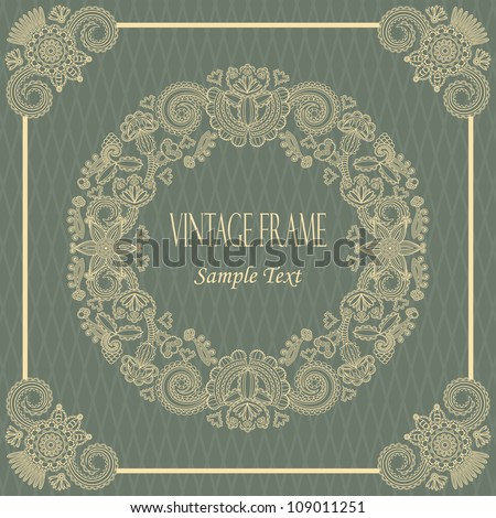 Elegant vintage card with floral borders