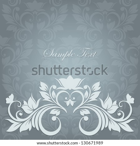 Elegant vintage card with floral seamless background background behind the panel is complete Invitation card for wedding