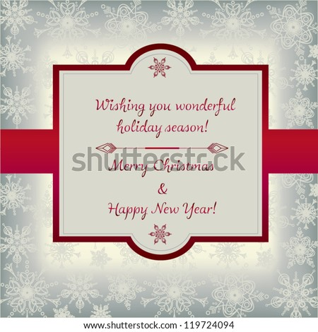 Elegant vintage Christmas and New Year greeting card with red ribbon and snowflake background - vector illustration